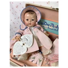 "1940's Vintage 11"" BRUNETTE Dy-Dee Doll - MOLD 2 w/ Original Layette in Trunk"