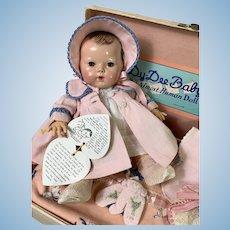 """1940's Vintage 11"""" BRUNETTE Dy-Dee Doll - MOLD 2 w/ Original Layette in Trunk"""