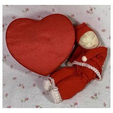 Extremely RARE * Shackman CHRISTMAS RED Valentine Heart Sleepy Doll 1957
