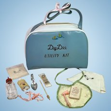 RARE 1930's Original DY-DEE Diaper Bag Utility Kit -- Complete Layette Accessories
