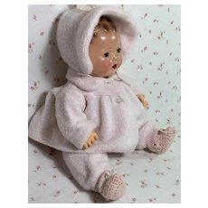 "RARE Vintage Effanbee Factory PINK EIDERDOWN Snowsuit for 15"" Dy-Dee"