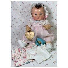 "RARE Effanbee Vintage 15"" Dy-Dee Jane Mold 2 Doll w/Tagged Dress Set"