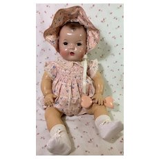 """Vintage 1930s Brown Eyes Effanbee 20"""" Mold 1 Dy-Dee LOU Baby Doll"""