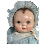 "RARE Averill Madame Hendren 17"" Georgene Baby Music Box Composition Doll"