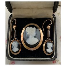 Vintage 1870s 18K Rose Gold Victorian Hardstone Cameo Demi-Parure Brooch / Earrings