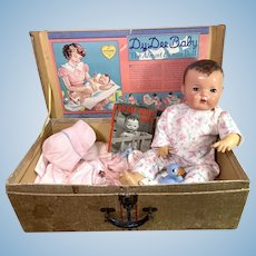 "1930s Effanbee 20"" Dy-Dee Lou Mold 1 Baby Doll in Box Original Layette"