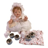 """RARE 1928 Effanbee 20"""" Composition Lovums Talking Tousle Head Phonograph Doll"""