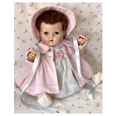 """1940s Effanbee 15"""" Dy-Dee Jane Baby Doll with RARE DARK BROWN Curls"""