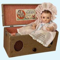 "1930s Vintage 14"" Princess Beatrix Baby Doll in Music Box Case"
