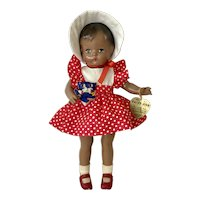 "RARE 1940s Effanbee Patsy Joan 15"" All Original Black African American Doll"