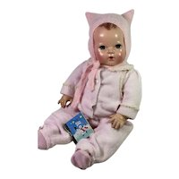 "Vintage Effanbee 20"" Dy-Dee Doll Lou Eiderdown PINK Snow Suit Set and Kitty Kat Angora Bonnet"