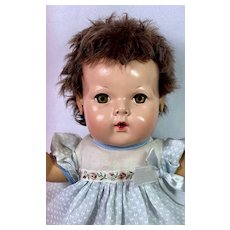 "1940s Effanbee 15"" Dy-Dee Jane Baby Doll with DARK BROWN Curls"