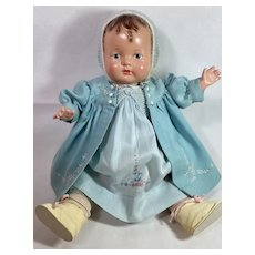 "1925 Effanbee 18"" Baby Evelyn Composition Doll -- Rare Painted Eye"