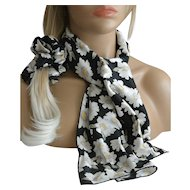 Three Piece Matching Scarf Set Hair Scrunchie and Corsage New Old Stock
