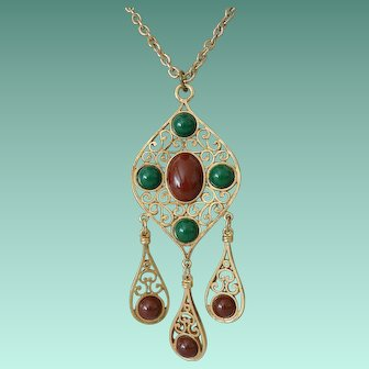 Signed Coro Faux Gemstones Lavaliere Necklace