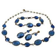 Faceted Blue Glass Parure of Necklace Bracelet Screw Back Earrings