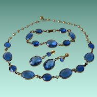 Faceted Blue Glass Parure of Necklace Bracelet Screw Back Earrings