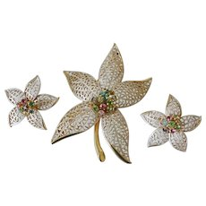 Silvery White Poinsettia Flower Multi Colors Rhinestones Brooch and Clip Earrings Set
