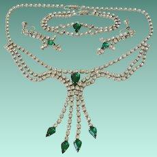 Emerald Green Pear Rhinestones Festoon Necklace Bracelet Earrings