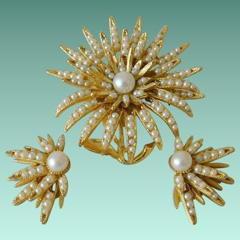 B.S.K. Brooch and Earrings Set Faux Seed Pearls Floral Design