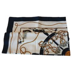 Large Square Nautical Theme Scarf Made in Italy