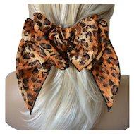 Hair Barrett Bow Leopard Print-New Old Stock