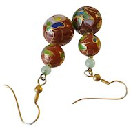 Enameled Cloisonné Bead Drop Earrings
