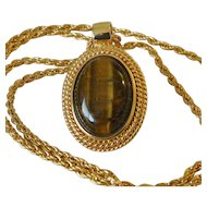 Faux Tiger's Eye Cabochon Pendant Necklace Signed Roman
