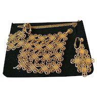 """Sarah Coventry """"Golden Petals"""" 1971 Necklace and Clip Earrings Set"""