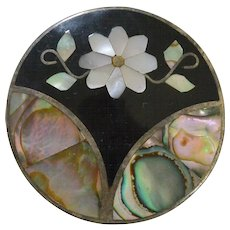 Mother of Pearl and Abalone Shell Inlay Necklace Pendant Brooch Pin