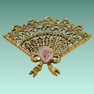 1928 Jewelry Company Ruffled Fan Motif Brooch Pin with Rose Flower