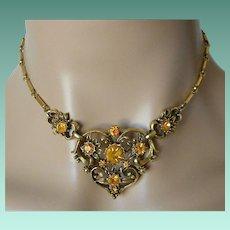 Coro 1948 Amber Rhinestones Necklace