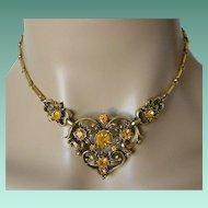 Coro Mid Century Amber Rhinestones Necklace