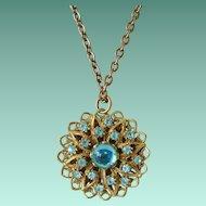 Czech Filigree Aqua Moon Glow Cabochon Pendant Necklace
