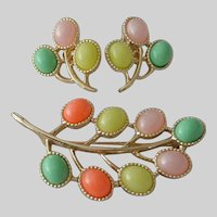 """Sarah Coventry """"Candy Land"""" Pin and Earrings Set 1973"""