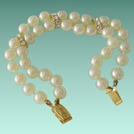 Double Faux Pearls Bracelet Rhinestone Accents