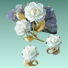Celluloid Rose Flowers Brooch Pin and Clip Earrings Set