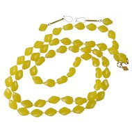 """""""Holiday"""" Beads Sarah Coventry Yellow Necklace and Earrings Set"""
