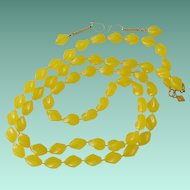 """Holiday"" Beads Sarah Coventry Yellow Necklace and Earrings Set"