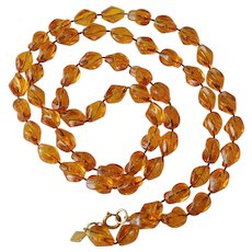 """""""Holiday"""" Beads Sarah Coventry Necklace - Tortoise Amber Color"""