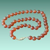 Carnelian Color Round Glass Beads Necklace