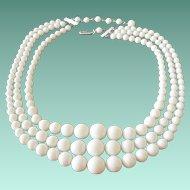 Basic White Three Strands Beaded Necklace Signed Japan