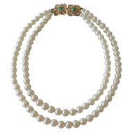 Signed Sarah Coventry Faux Pearl with Faux Jade Clasp Necklace