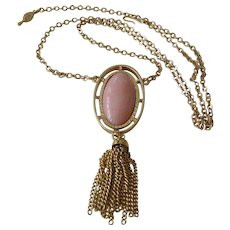 """1973 Sarah Coventry """"Pink Lady"""" Pendant Necklace"""