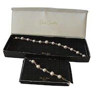 """Pearl- Swirl"" 1966 Sarah Coventry Necklace Bracelet Set in Box"
