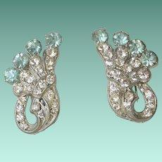 Clear and Aqua Rhinestones Screw Back Earrings