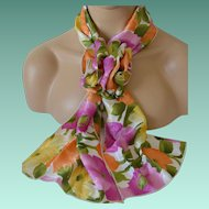 Floral Print Rectangular Scarf and Corsage Set – 1980's New Old Stock