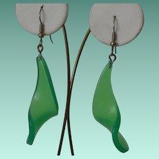 Green Wave Dangle Ear Wire Earrings