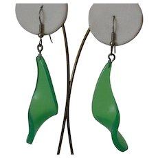Green Wave Dangle Ear Wire Earrings