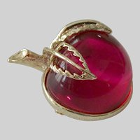"""Sarah Coventry  """"Burgundy"""" Red Apple Pin 1972"""